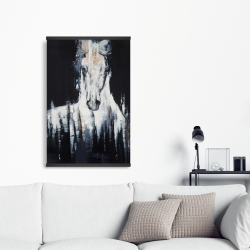 Magnetic 20 x 30 - Abstract white horse on black background