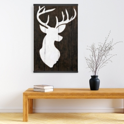 Magnetic 20 x 30 - White silhouette of a deer on wood