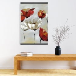 Magnetic 20 x 30 - Abstract red and white flowers