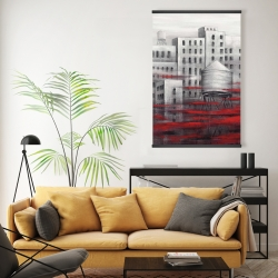 Magnetic 20 x 30 - Gray city with red clouds
