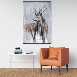 Magnetic 28 x 42 - Deer in the forest by a rainy day