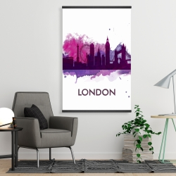 Magnetic 28 x 42 - Purple silhouette of london