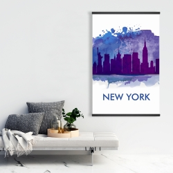Magnetic 28 x 42 - Blue silhouette of new york city