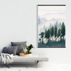 Magnetic 28 x 42 - Mountains landscape in watercolor