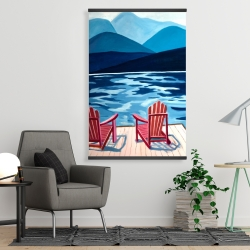Magnetic 28 x 42 - Lake, dock, mountains & chairs