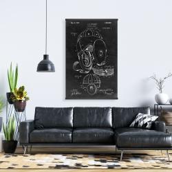 Magnetic 28 x 42 - Black blueprint of a football helmet