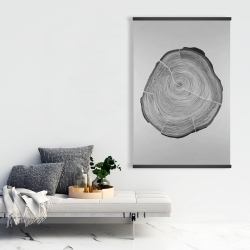 Magnetic 28 x 42 - Grayscale oval shaped tree slab