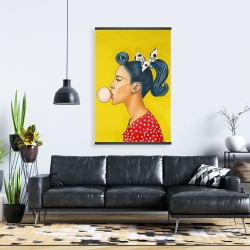 Magnetic 28 x 42 - Retro woman with beautiful ponytail