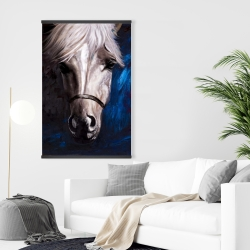 Magnetic 28 x 42 - White horse on blue background