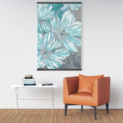 Magnetic 28 x 42 - Three little abstract blue flowers