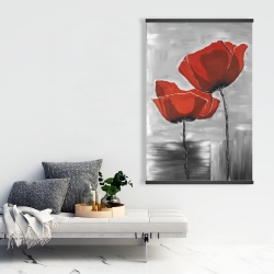 Magnetic 28 x 42 - Two red flowers on a grayscale background