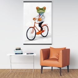 Magnetic 28 x 42 - Funny frog riding a bike