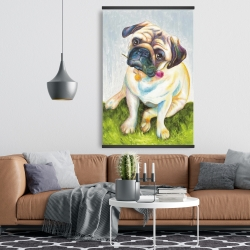 Magnetic 28 x 42 - Cute pug with a rose in his mouth