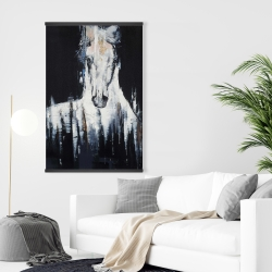 Magnetic 28 x 42 - Abstract white horse on black background