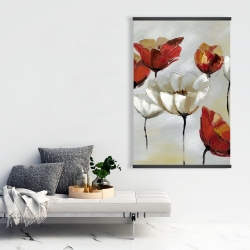 Magnetic 28 x 42 - Abstract red and white flowers