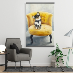 Magnetic 28 x 42 - Long-haired chihuahua on a yellow armchair