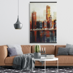 Magnetic 28 x 42 - Abstract red cityscape