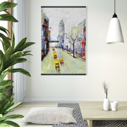 Magnetic 28 x 42 - Gray street with yellow and red accents