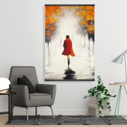 Magnetic 28 x 42 - Woman with a red coat by fall