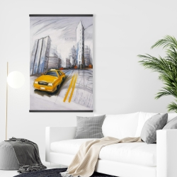 Magnetic 28 x 42 - Yellow taxi and city sketch