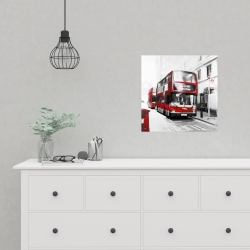 Poster 16 x 16 - Red bus in a gray street