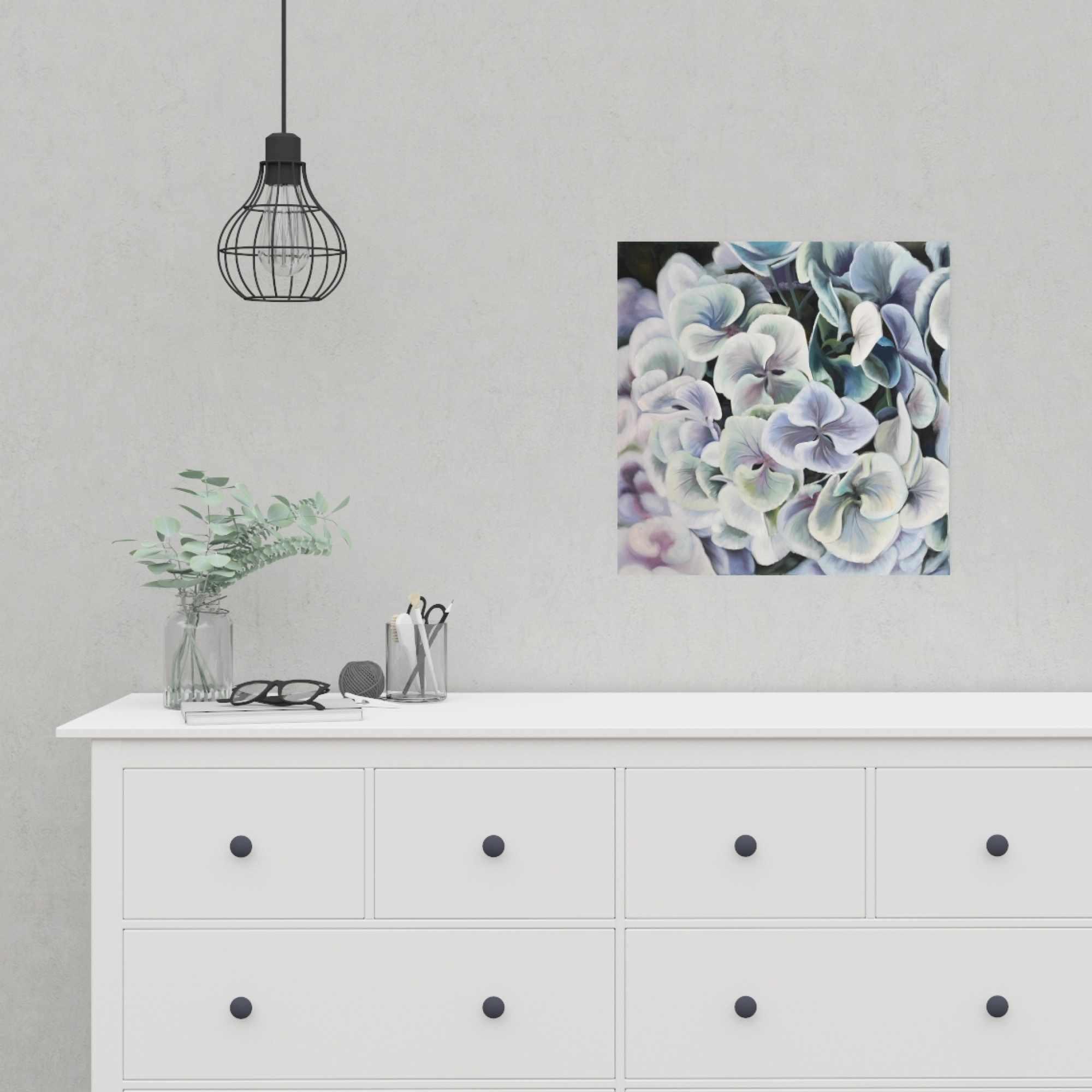 Poster 16 x 16 - Purple hydrangea flowers