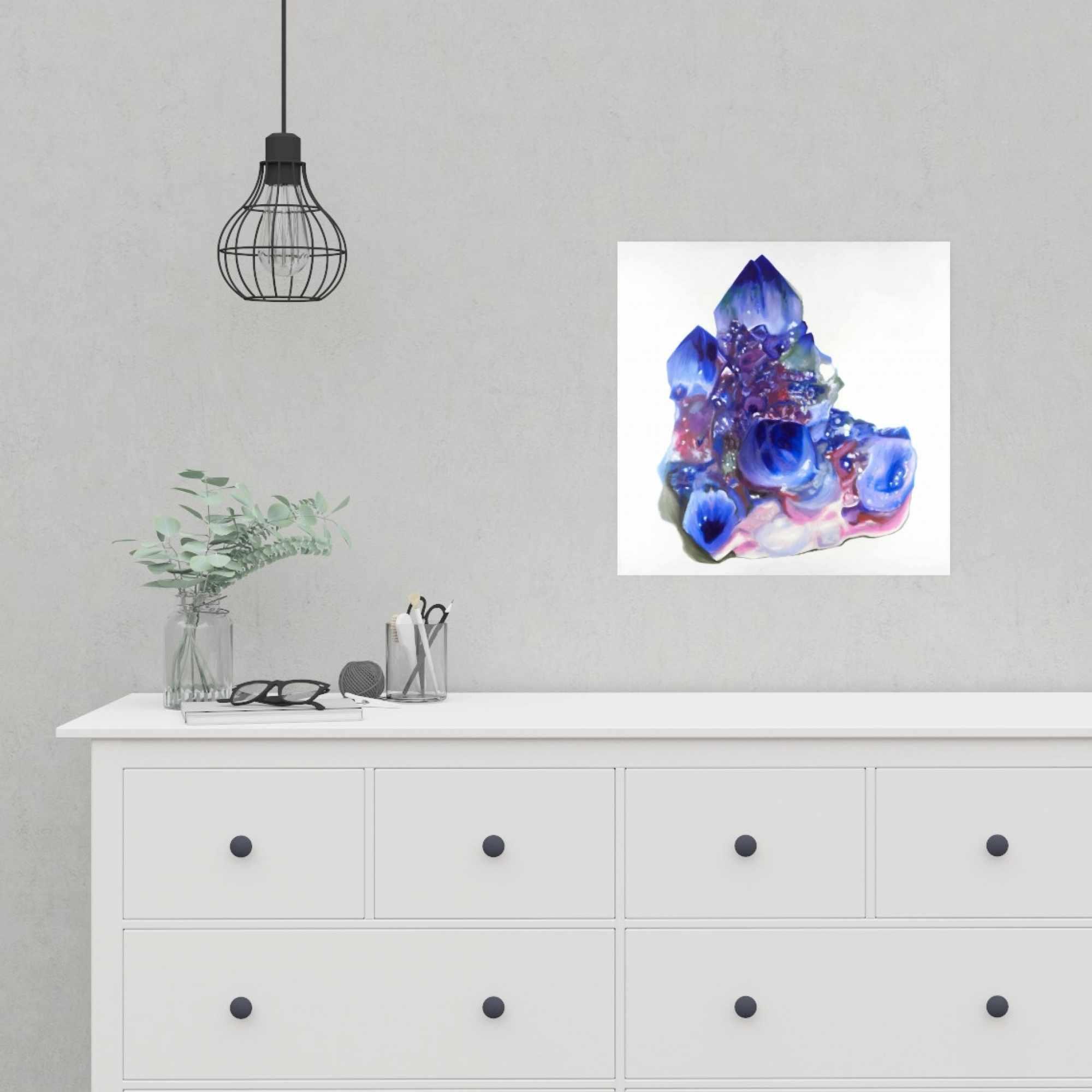 Poster 16 x 16 - Blue and purple quartz cristal