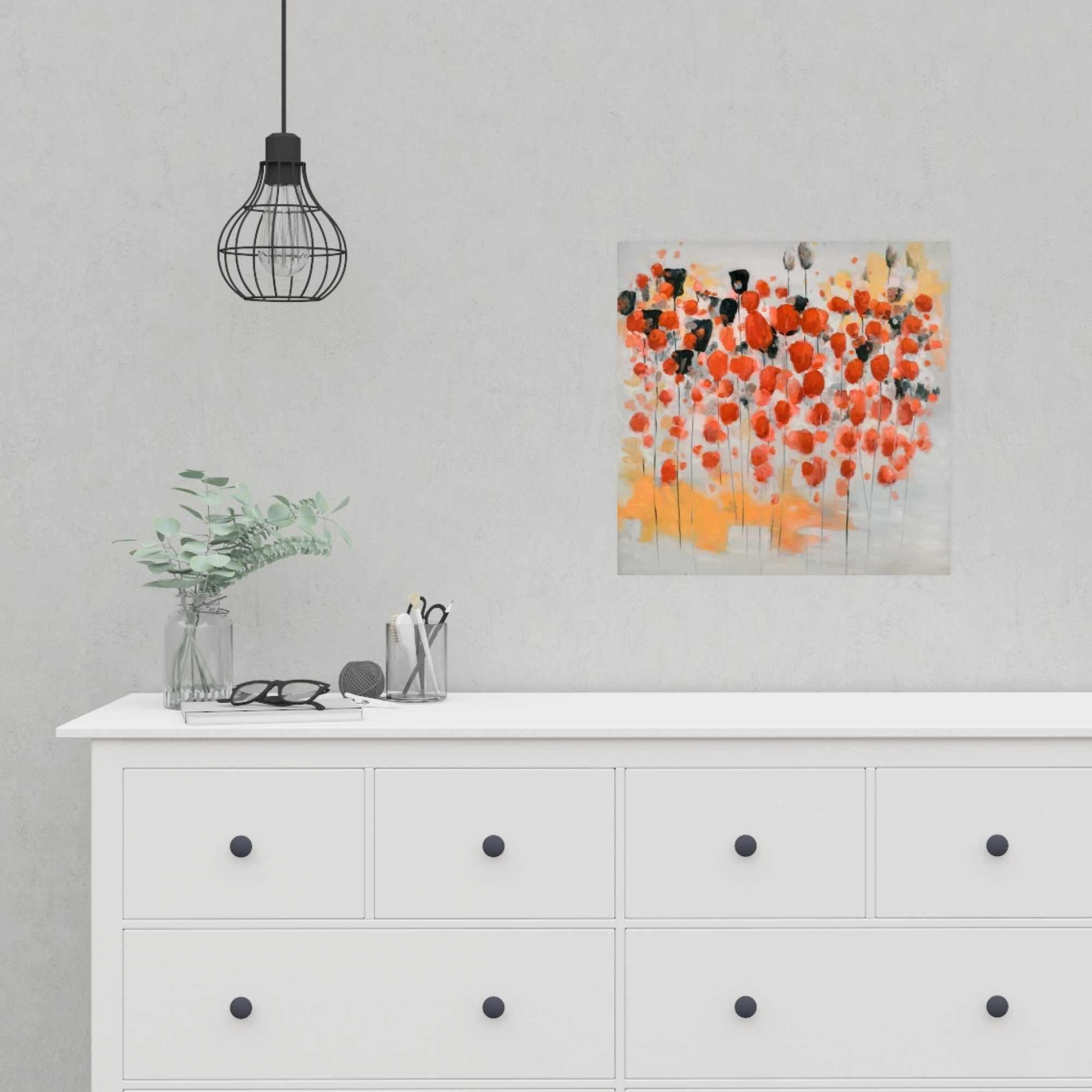 Affiche 16 x 16 - Champ de fleurs ronde rouges abstraites