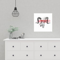 Poster 16 x 16 - Aerie skull with feather