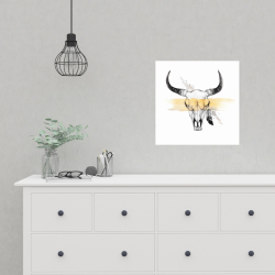 Poster 16 x 16 - Cow skull with feather