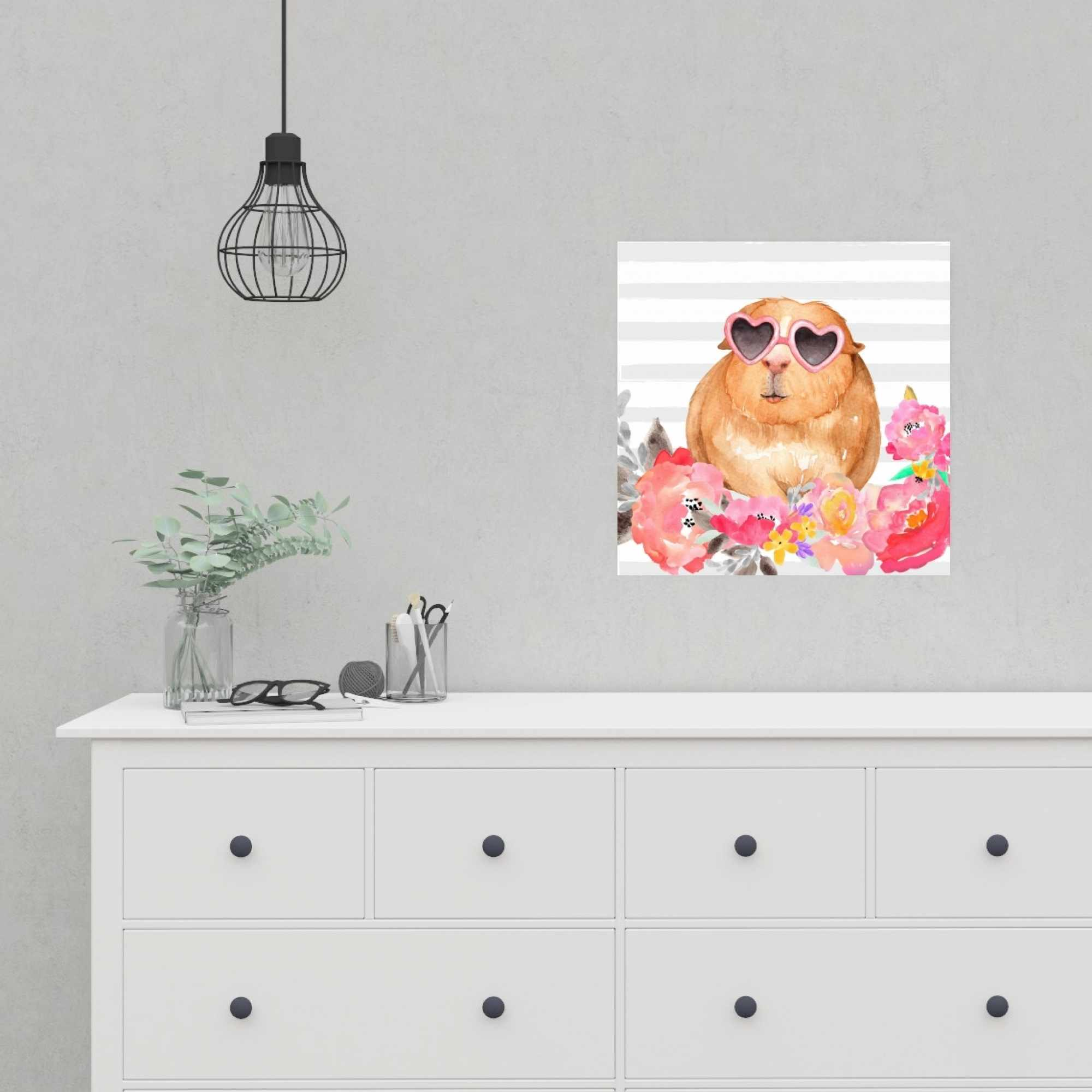 Poster 16 x 16 - Guinea pig with glasses