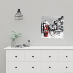 Poster 16 x 16 - Abstract gray city with red bus