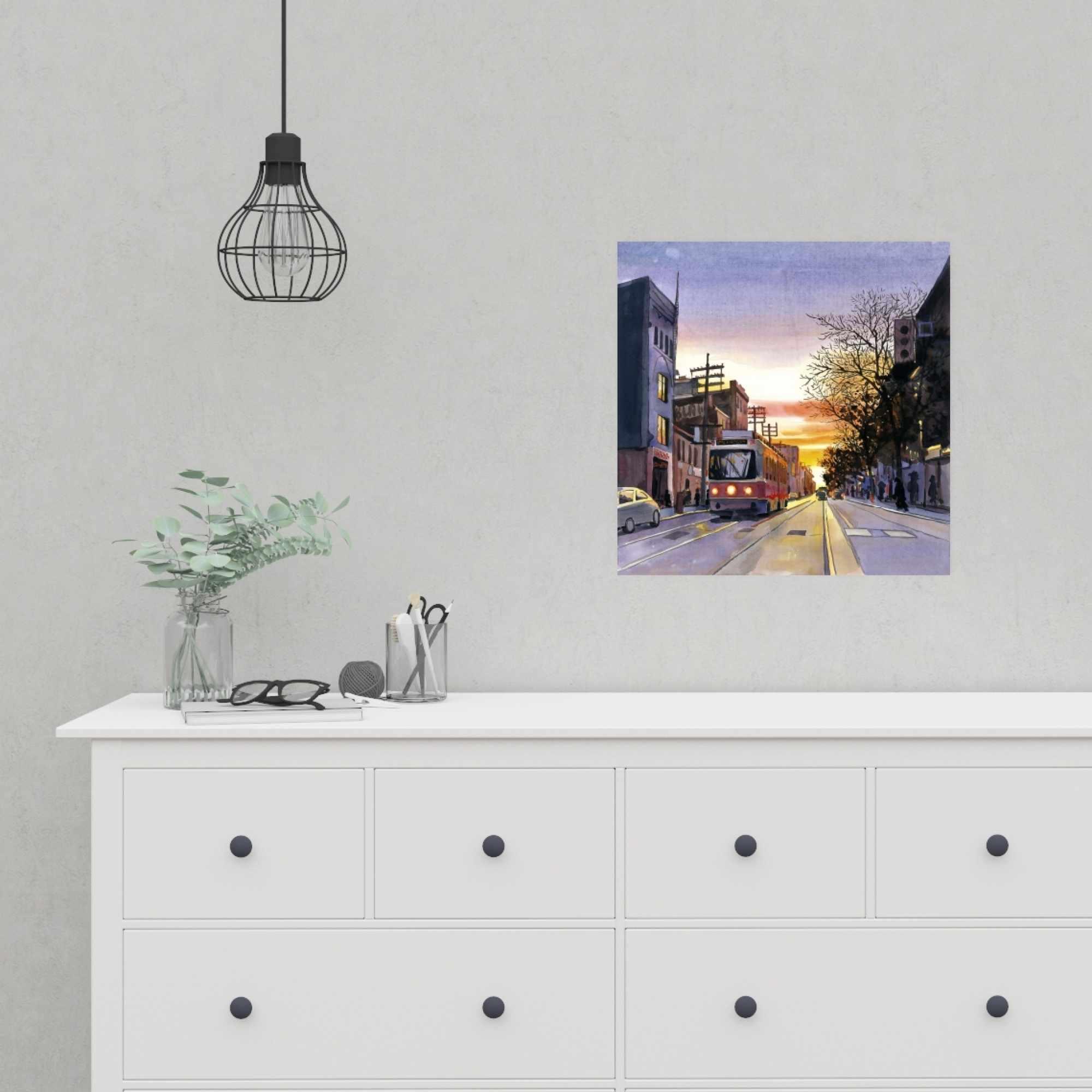 Affiche 16 x 16 - Coucher de soleil une rue torontoise