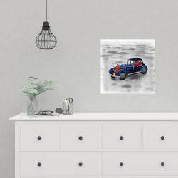 Poster 16 x 16 - Vintage blue toy car