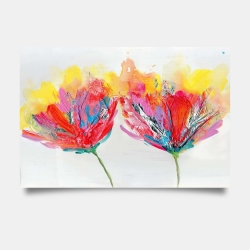 Poster 24 x 36 - Colorful flowers with a butterfly