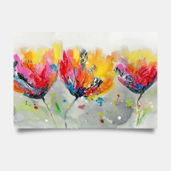 Poster 24 x 36 - Four colored flowers on gray background