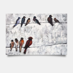 Poster 24 x 36 - Colorful birds on branches