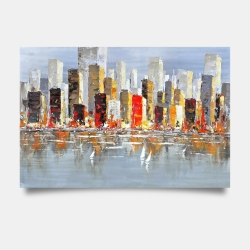 Poster 24 x 36 - Colorful buildings with water reflection