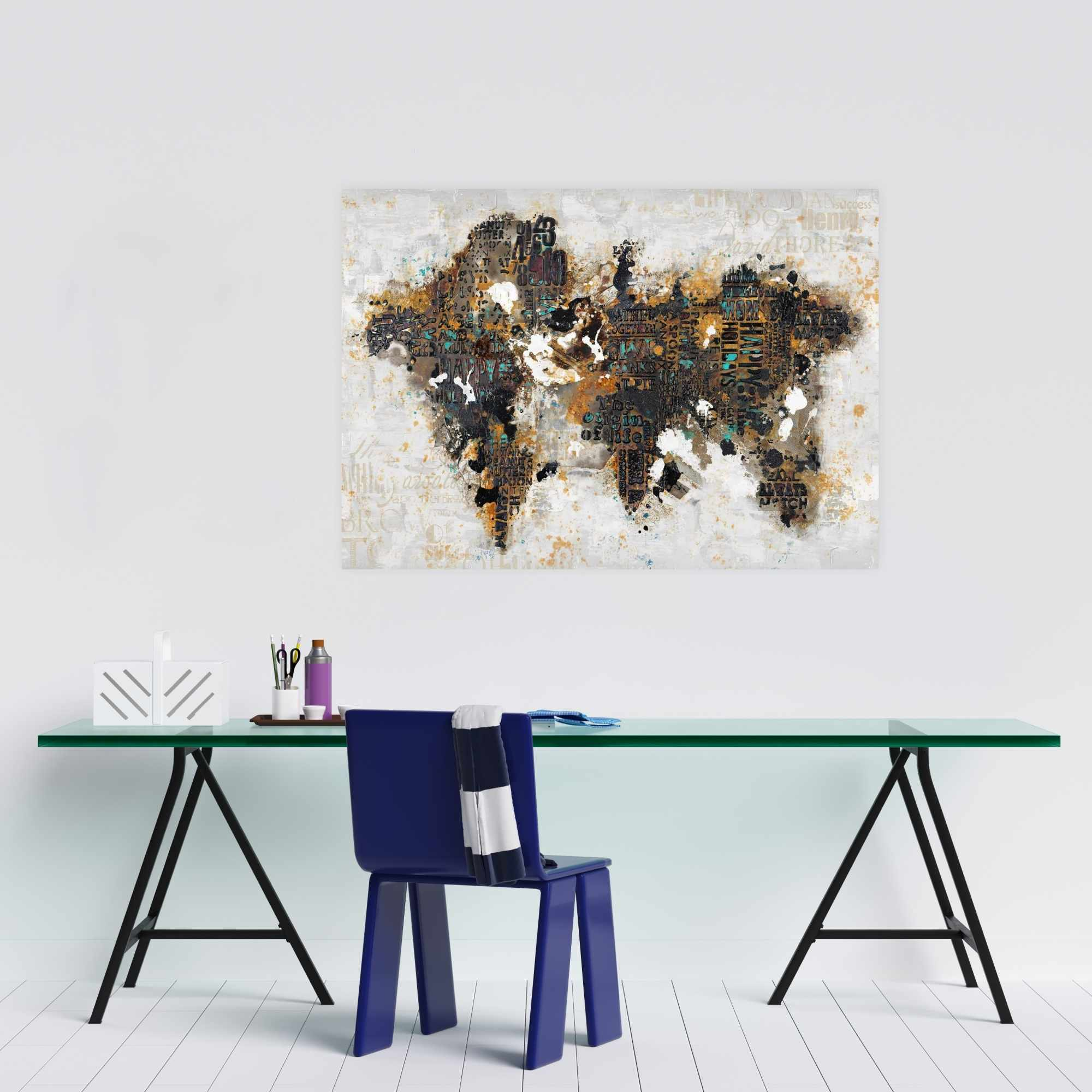 Poster 24 x 36 - Abstract world map with typography