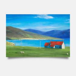 Poster 24 x 36 - Scottish highlands with a little red roof house