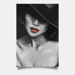 Poster 24 x 36 - Mysterious red lips lady