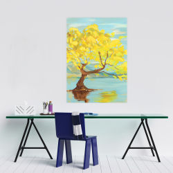 Poster 24 x 36 - Spring lanscape with a tree in a lake