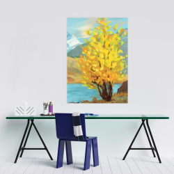 Poster 24 x 36 - Lake landscape with a tree and reflection