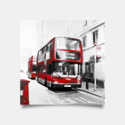 Poster 30 x 30 - Red bus in a gray street