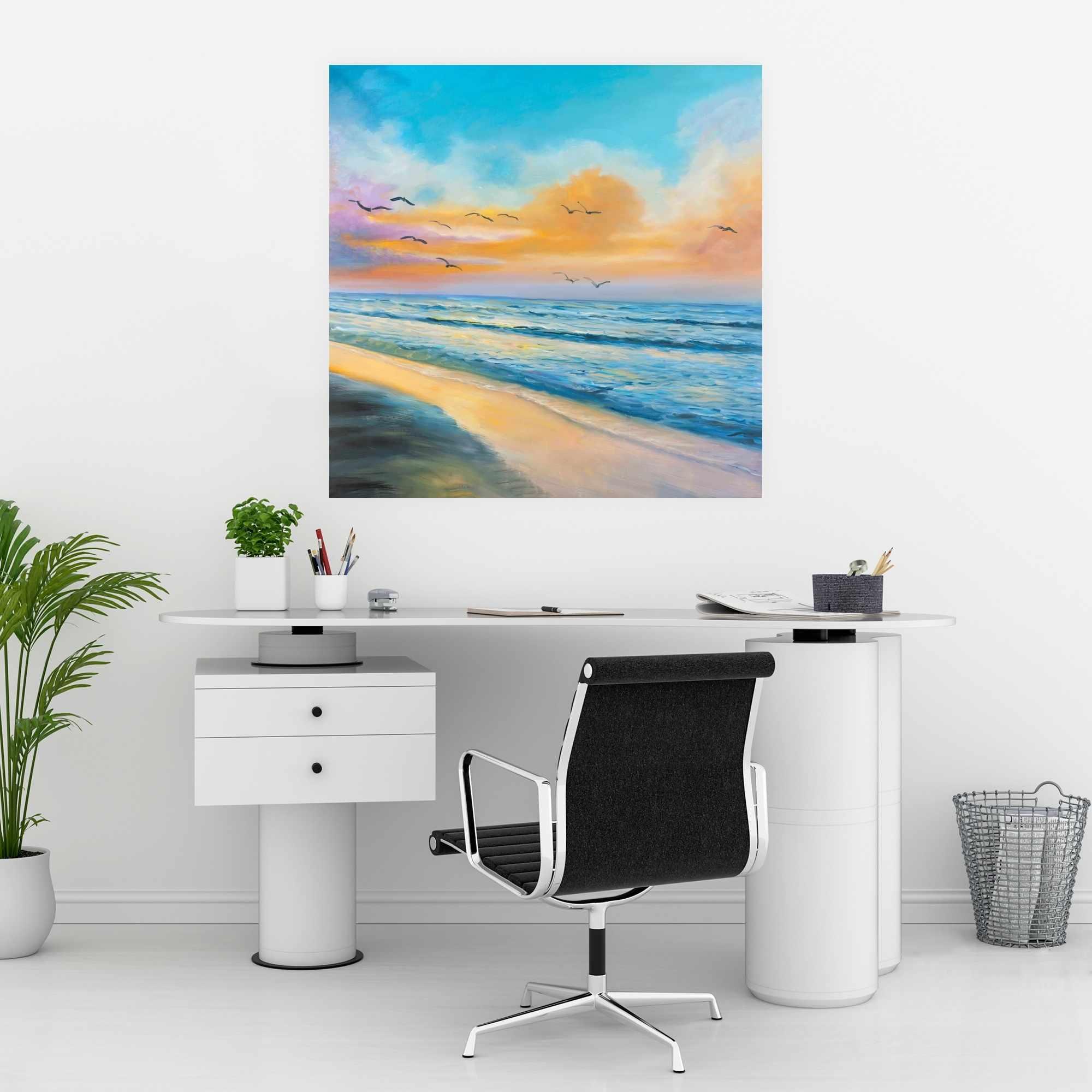 Affiche 30 x 30 - Coucher de soleil tropical à couper le souffle