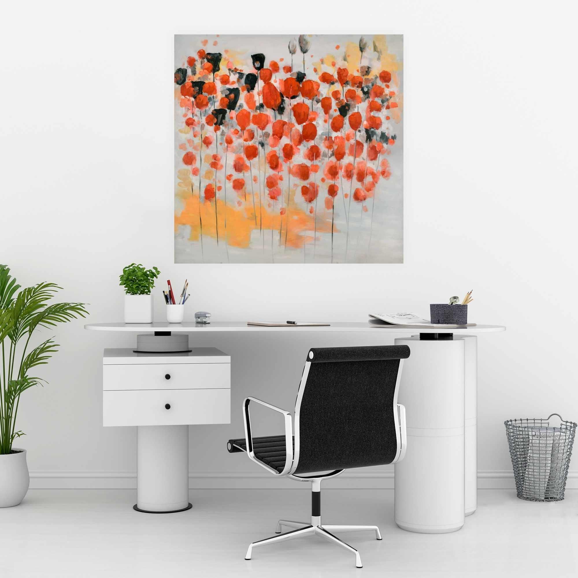 Affiche 30 x 30 - Champ de fleurs ronde rouges abstraites