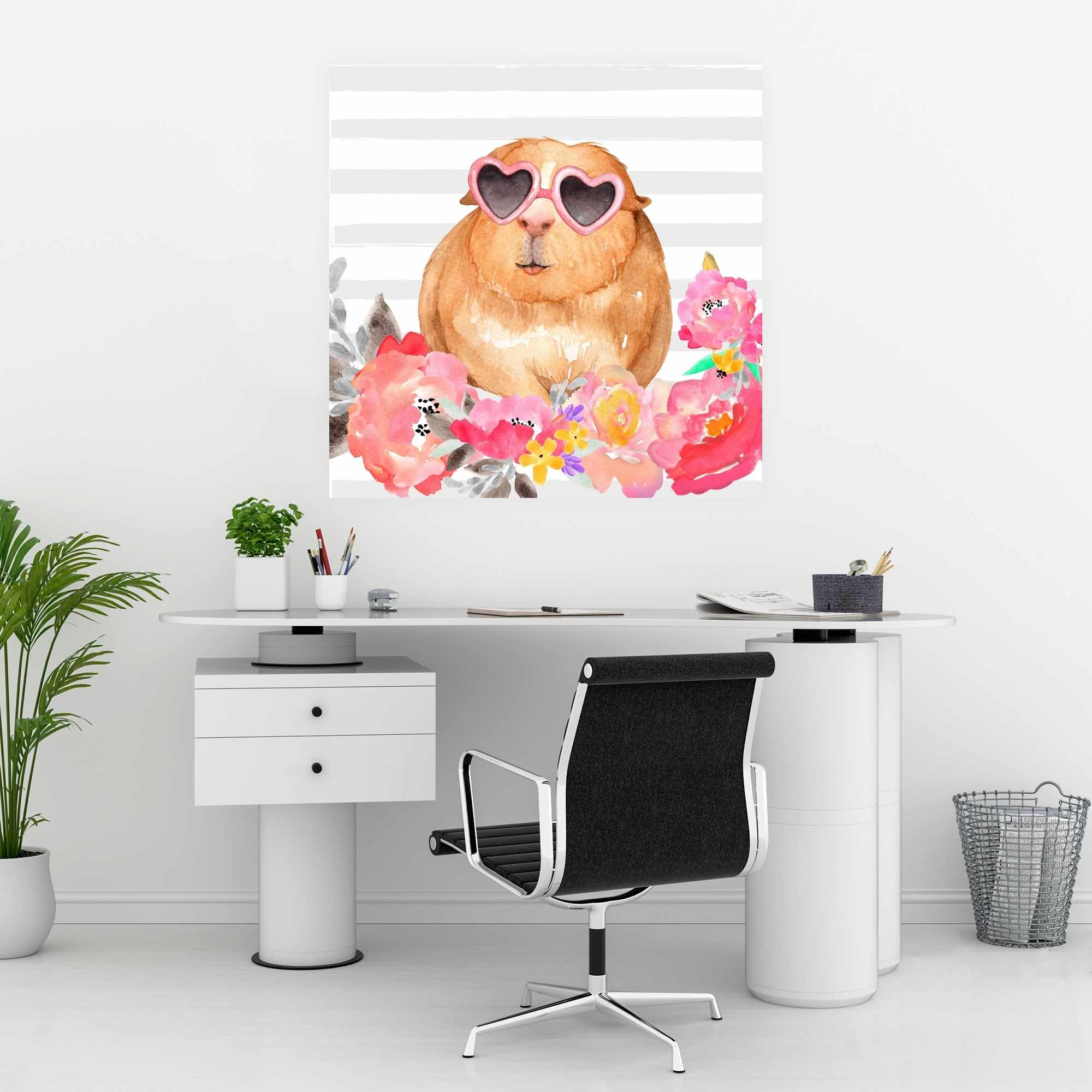 Poster 30 x 30 - Guinea pig with glasses
