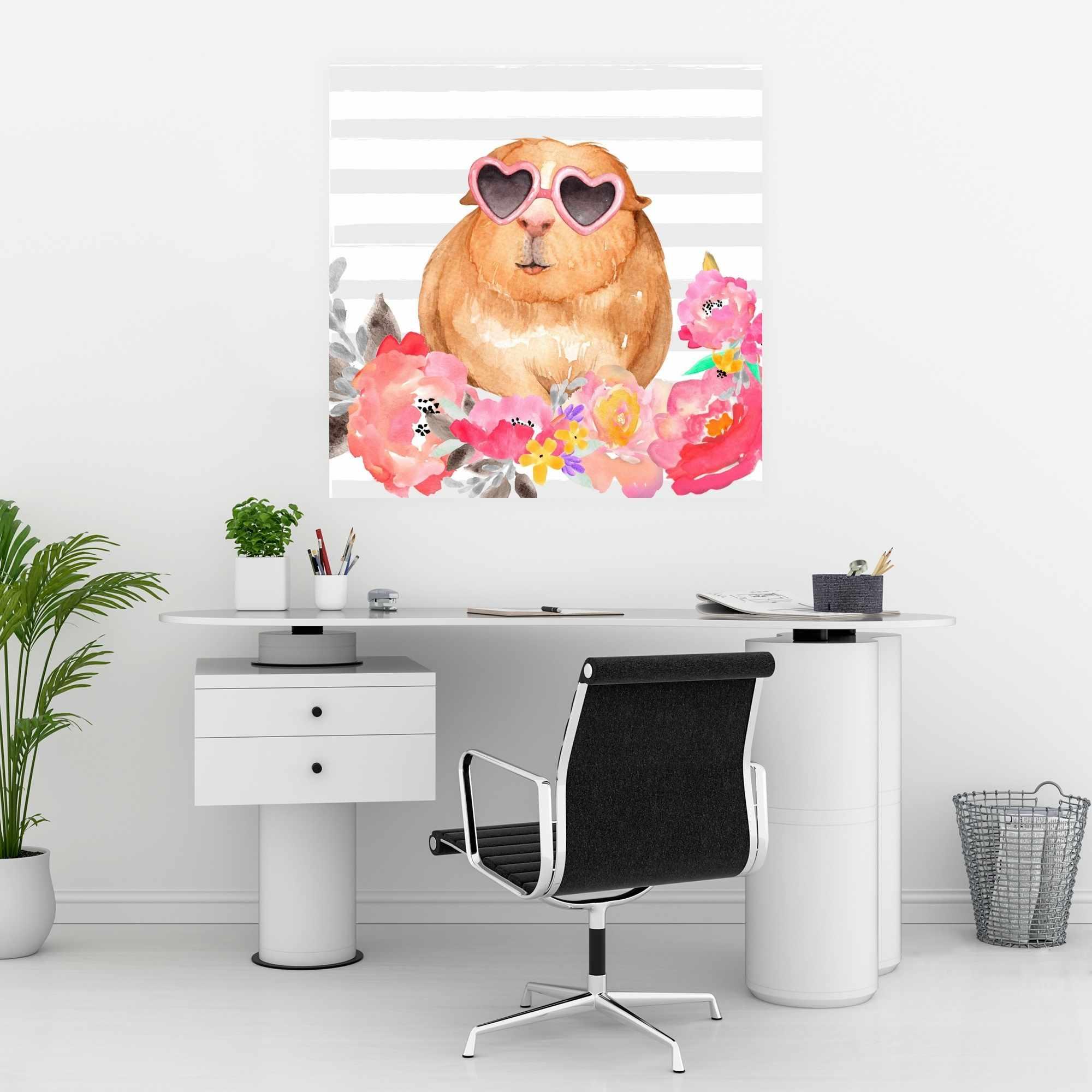 Affiche 30 x 30 - Cochon d'inde à lunette