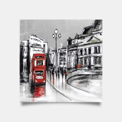 Poster 30 x 30 - Abstract gray city with red bus
