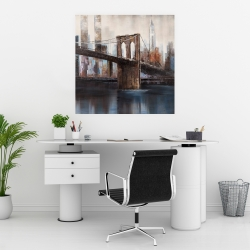 Poster 30 x 30 - Brown and blue brooklyn bridge